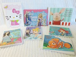 Lot 22 Childrens Thank you Cards Disney Olivia Frozen Ariel Nemo Hello K... - $12.99