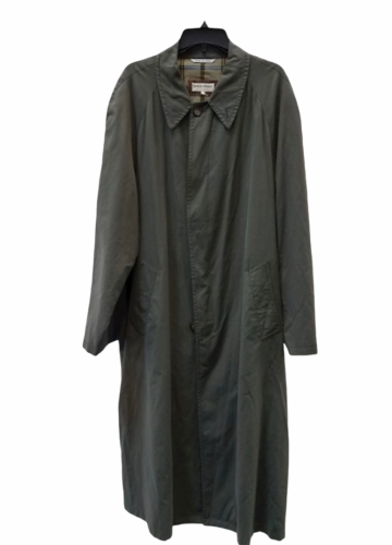 """Vintage Giorgio Armani Long Olive Green Trench Rain Coat 54"""" Chest Made in Italy"""