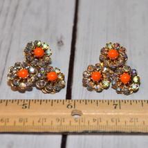 high end vintage rhinestone flower earrings floral orange lucite cab gol... - $17.81