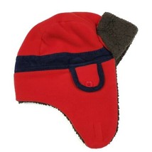Baby Gap Boys Trapper Hat S M Red Brown Blue Fleece Corduroy Winter Cold... - $14.99
