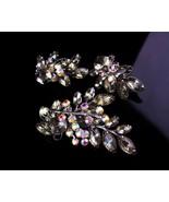 "1950s Large Rhinestone brooch set - smoky topaz clip on earrings - 3"" na... - $125.00"