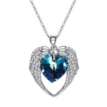 Women Crystal From Swarovski Pendant Necklaces Purple Blue Heart Elegant... - $28.49