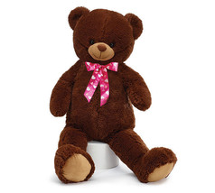 PLUSH DARK BROWN BEAR WITH HOT PINK BOW - $44.98
