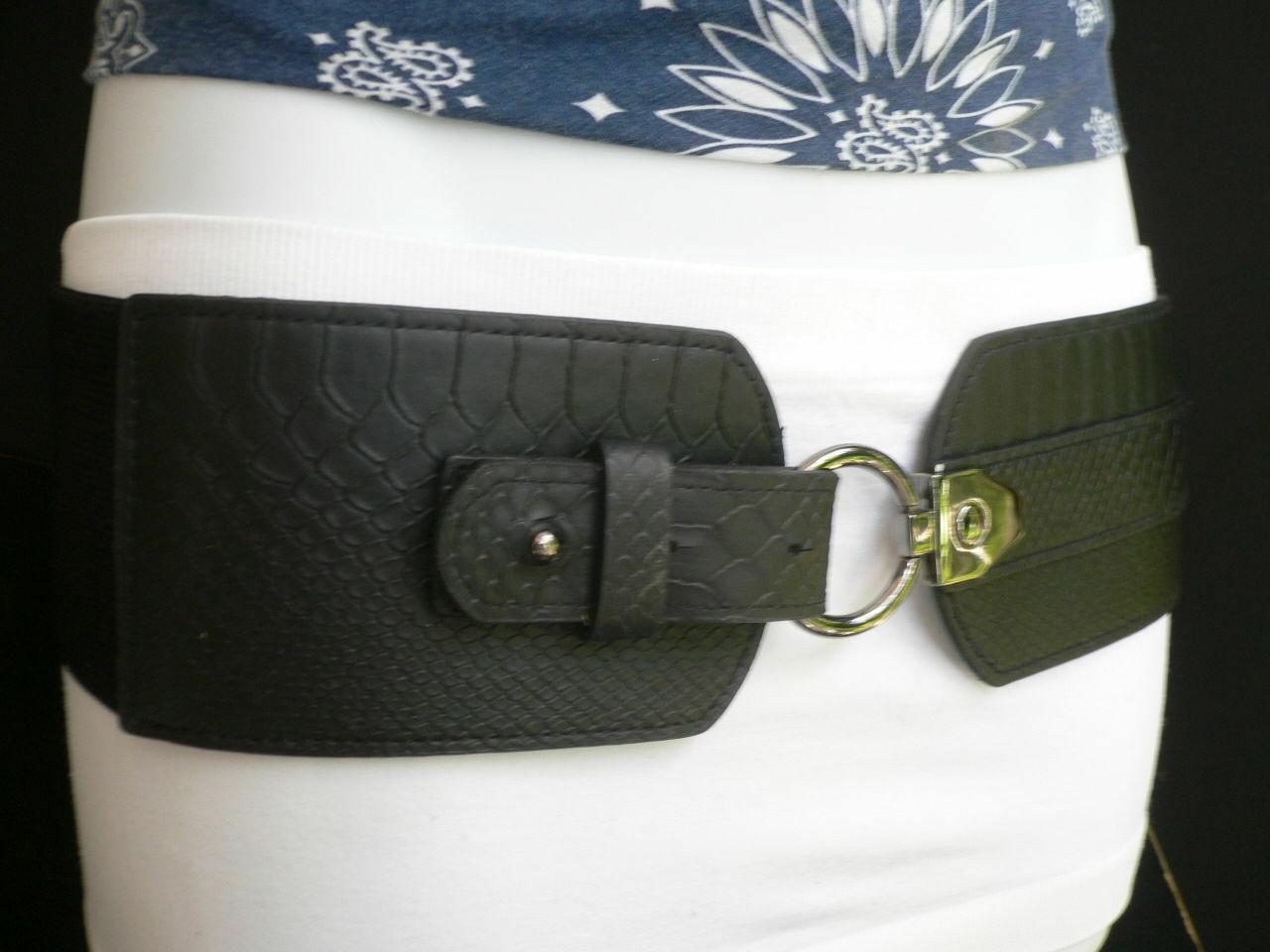 Cintura Donna Fashion Hip Vita Elastico Nero Largo Finta pelle Serpente Timbro