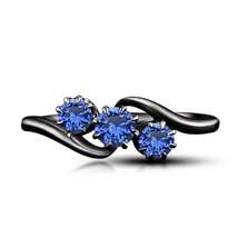 10k Black Gold Finish 925 Silver 1.25 Ct Blue Sapphire Three Stone Promi... - $75.99