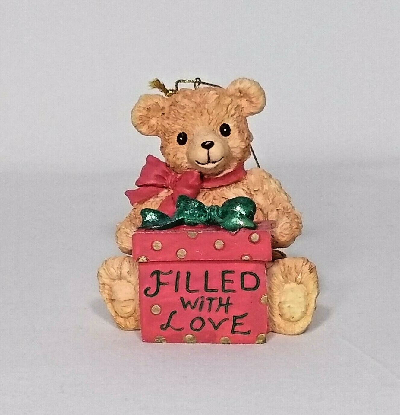 Primary image for VTG San Francisco Music Box Co 1995 Christmas Teddy Bear with Present Red Green