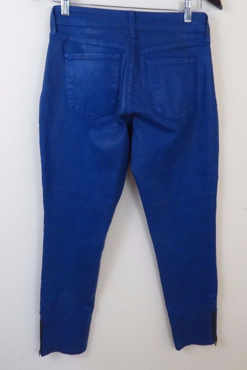 NYDJ Not Your Daughters Jeans Blue Faux Leather Legging Pants Women's Size 2