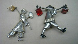 2 Vintage Asian Figural Brooches Sterling Woman Pin Lot - $44.99