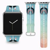 Bape Shark Apple Watch Band 38 40 42 44 mm Series 1 - 5 Fabric Leather Strap 5 - $29.97