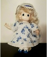 """Cute Blue and White outfit, PRECIOUS MOMENTS Doll - 1995 12"""" tall with s... - $4.89"""