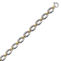18k Yellow Gold and Sterling Silver Chain Necklace in a Cable Motif - $664.71