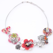 Spring style gecko New 2016 iron flower necklace fashion necklace & pend... - $16.99
