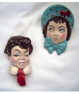 Vintage 1960s Chalkware Couple Man Red Tie and Women Blue Bonnet Wall Ha... - $19.95
