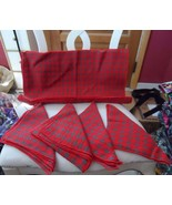set of 4 red and green woven Christmas Holiday placemats with matching n... - $18.50