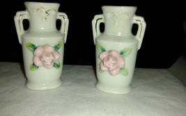 Vintage White Vase with Rose and GOLD TRIM Made in Japan SET of 2 - $1.99