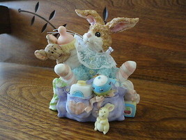 Baby Bunny Rabbit and Mouse in Diaper Bag Porcelain Figurine Hand painted - $57.83