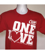 Mens Raising Canes Chicken Fingers One Love Crew T Shirt small employee red - $14.56