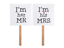 photo props, pack of two, im her mr other says im his mrs  Photo Prop Cards