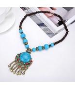 Blue Tassel Boho Fashion Jewelry Ethnic Vintage Carved Beaded Pendant Ch... - $10.00
