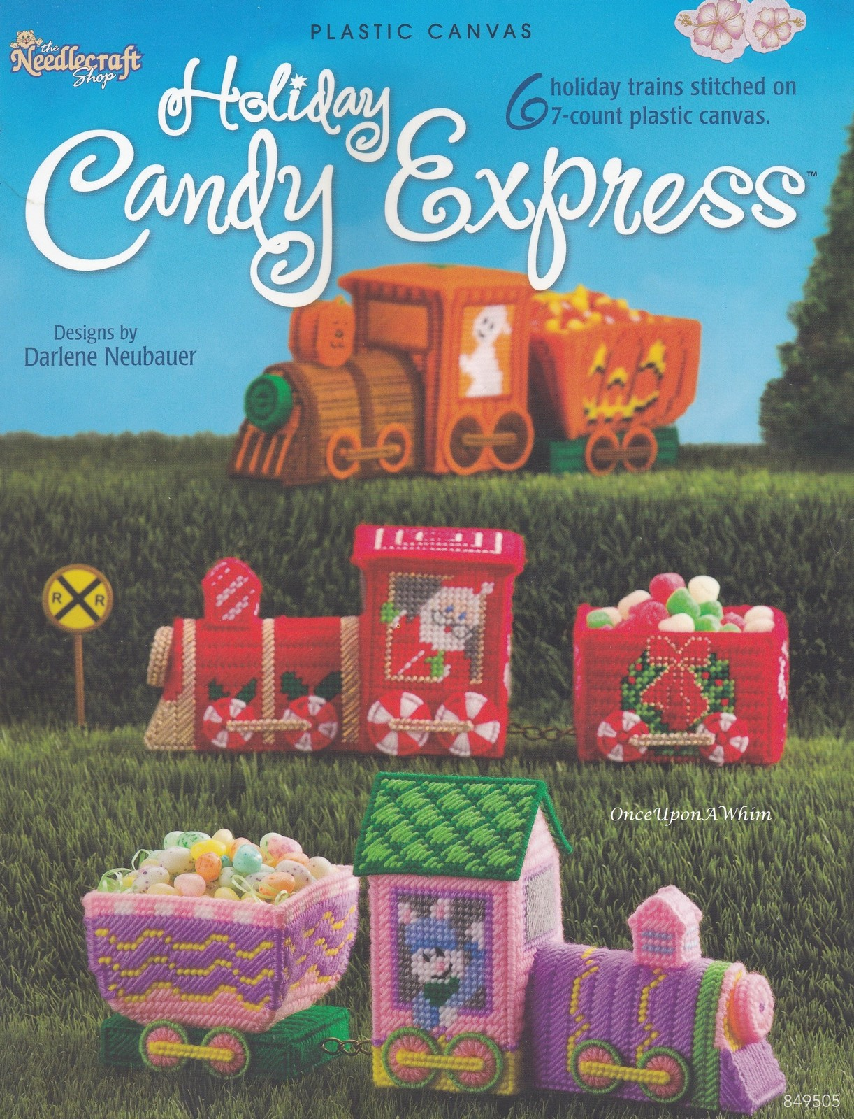 Primary image for Holiday Candy Express Trains, Plastic Canvas Pattern Booklet TNS 849505 NEW