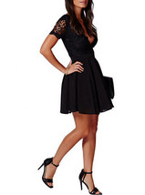 Black Lace / Chiffon / Deep Scalloped Neckline - Fit and Flare / Skater Dress image 2