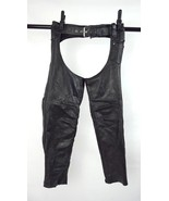 Vtg 90s Black Leather Western Biker Motorcycle Riding Chaps Pants Womens... - $32.66