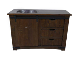 "50"" Brown Farmhouse Sliding Barn Door Single Sink Bathroom Vanity - $1,064.25"
