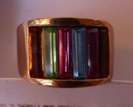 Vintage 1970s Dome RING Multi Color Crystal Baguettes SETA Boca Raton FL - $25.00