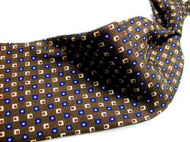 LAUREN By Ralph Lauren   Brown Blue-Yellow GEO MENS  100 SILK Necktie 9 ... - $15.99