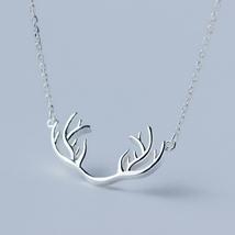 Elk antlers 925 sterling silver pendant necklace - $27.95