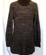 Creazioni Effeci Black Gray Knit Sweater Pull Over Front Pockets Size Med - $31.89