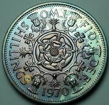 1970 UNITED KINGDOM 2 SHILLING PROOF STUNNING COLORING BU UNC TONED LUST... - $197.99