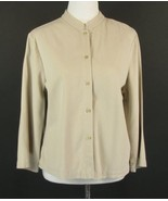EILEEN FISHER Size L Tencel Cotton Mandarin Col... - $31.99