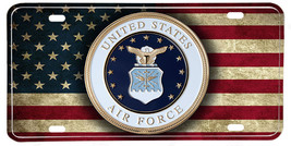 Distressed American Flag United States Air Force Emblem License plate - $13.81