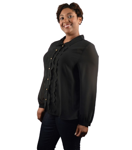 Plus size song Sleeve Scalloped Placket Blouse
