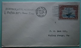 """1929 Air Mail from Nebraska to Valley Forge, PA, """"Buffalo Bill's Home Town"""" - $10.00"""