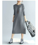 Plus Size Elegant Women Long Sleeve Slim Dress Knitted Cotton Sexy Party... - $52.00