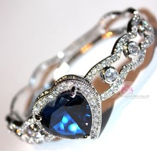 Love Womens Ladies Heart for Jerusalem Sapphire Ocean Blue Cz Gala Cuff Bracelet - $185.00