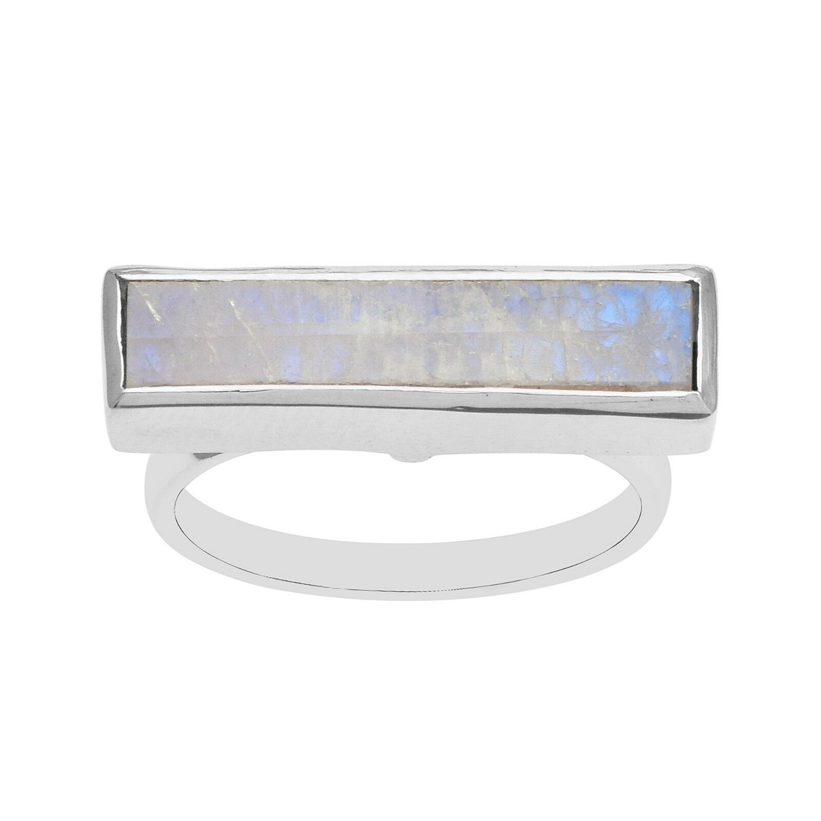 Rainbow Moonstone 925 Silver Women Wedding Engagement Ring Wide Shank 4X20 mm