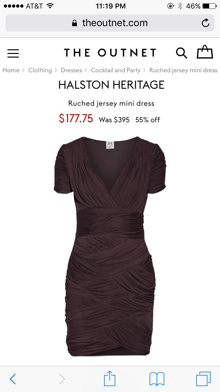 NWT Halston Heritage Ruched Jersey Mini Bodycon Dress Purple Aubergine XS 0 2 image 2