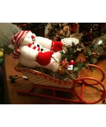 Handcrafted Christmas Snowman in Floral Decorated Wicker Sleigh - $17.81