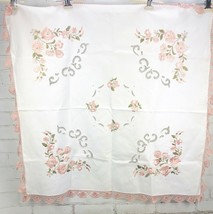 Vintage Tablecloth Embroidered Flowers Crochet Trim Cutwork  Small Squar... - $44.55