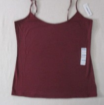 Old Navy Women Top XL Burgundy Solid Adjustable Strap Fitted Cotton Span... - $6.33