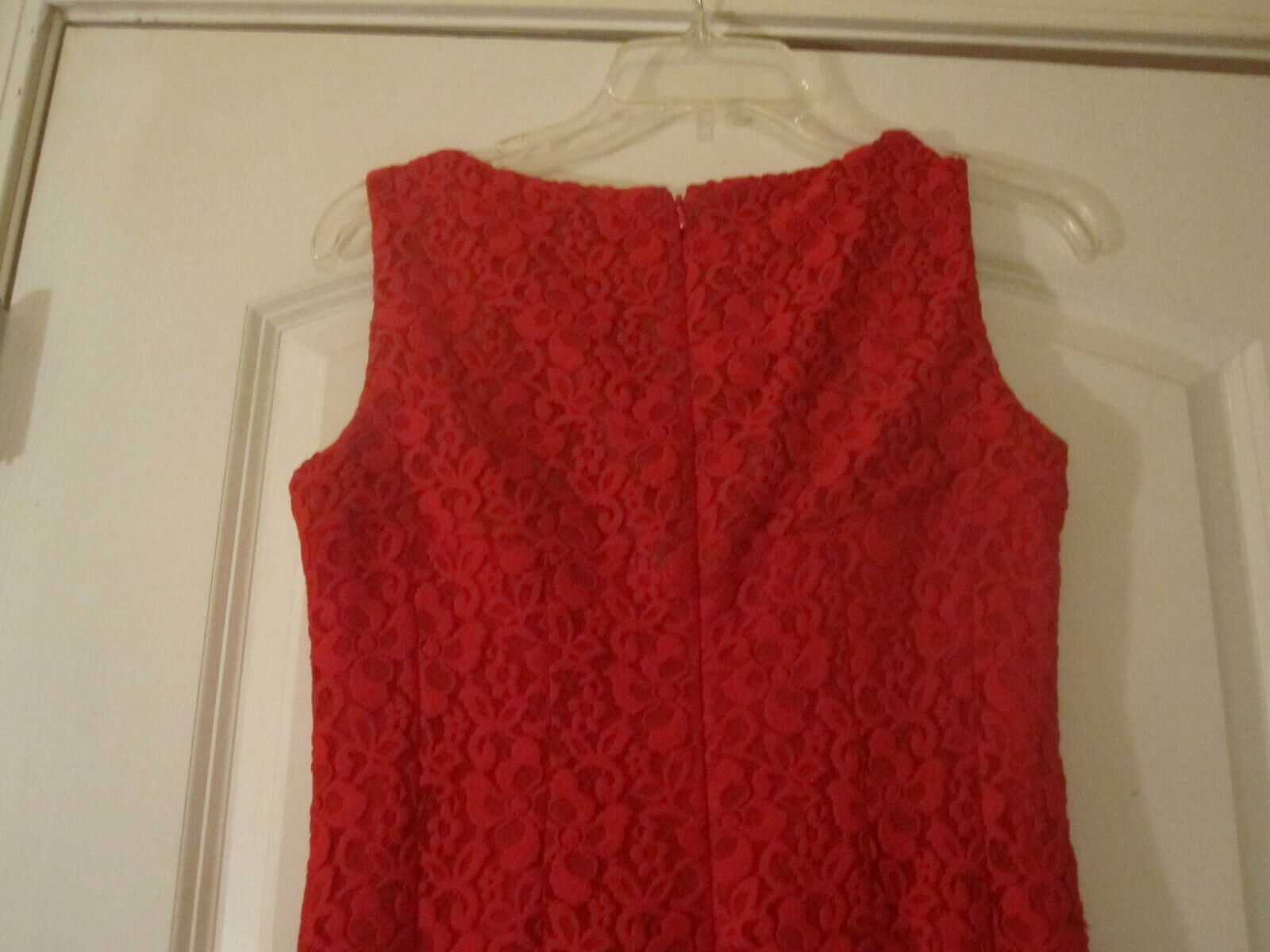 Anne Klein Womens Red Crochet Dress Lined Sleeveless Size 2 image 6
