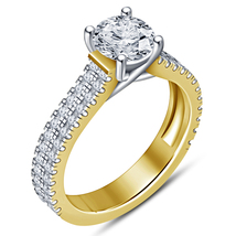 Solitaire With Accents Ring Round Cut White CZ 18k Yellow Gold Plated 92... - $108.09 CAD