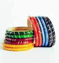 Wooden Engraved Bangles (Per Two)  - $4.95