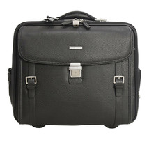 Brooks Brothers Men's Leather Travel Bag Suitcase, Black, O/S 8294-7 - $394.02