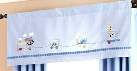 Two Valances Pottery Barn Baby Kids Ryder Circus Train Blue Animals Stripe 18x44 - $29.68