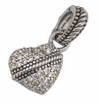 Ladies Judith Ripka 925 Sterling Silver Clear CZ  Heart Pendant Enhancer - $59.95