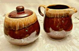 Vintage McCoy Pottery Brown Drip Glaze Creamer and Covered Sugar Bowl Set 7020 image 6